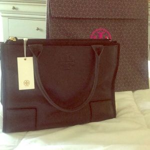 Tory Burch Black Ella Leather and Canvas Tote